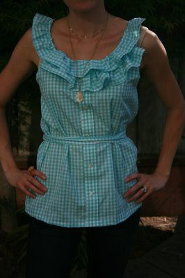 Make a ruffle shirt from an old men's dress shirt! So cute! I wonder if Jason wants to get rid of any shirts...