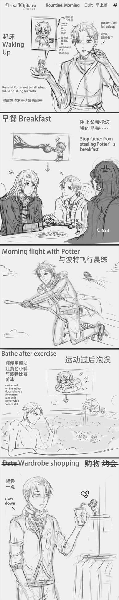 Drarry DoujinManga Pet Potter 04 ROUTINES by arisa-chibara