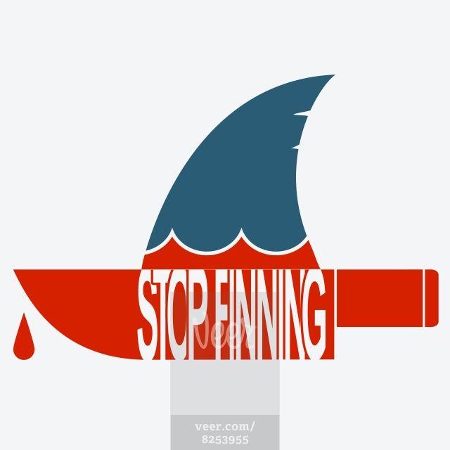 Stop finning.Vector symbol of safe sharks Stock Illustration