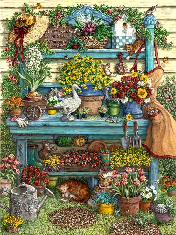 Gardener's Cats (Janet Kruskamp)