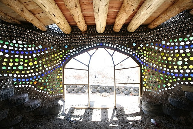 Inside the earth ship -EVE Earthship Project bottle entry by Earthship Kirsten, v