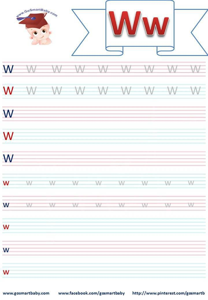 Smart Baby - Ecrire la lettre de l'alphabet script W w