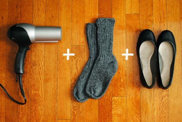 From blogger posted a cool idea to help you with your shoes if they are too small or too tight. Photo & idea from coffeelightandsweet.com Put on socks and slip on your shoes. Aim the ha…