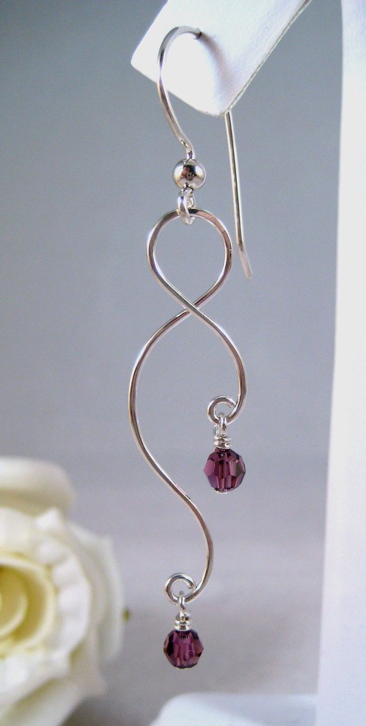 curving wire & crystals. Easy to make and pretty!!  #Beads #Earrings #Crystal #Wire #Silver #Purple
