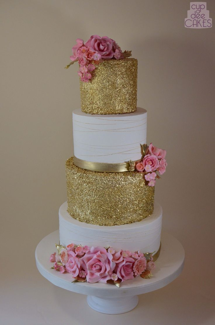 Gold Glitter Sparkle Cake With Pink Roses