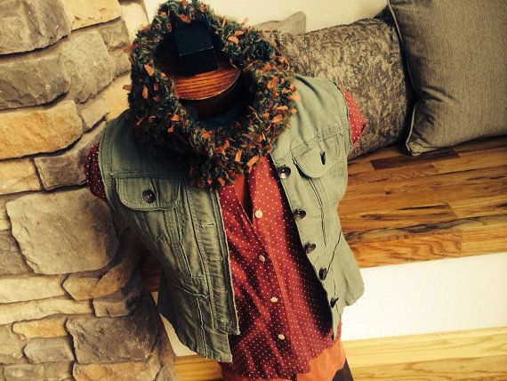 Infinity Scarf Christmas Infinity Scarf by CricketsCreations, $28.00 (this is a non-traditional take on Christmas colors that looks great on men ... or women:  brick, rust and forest green)