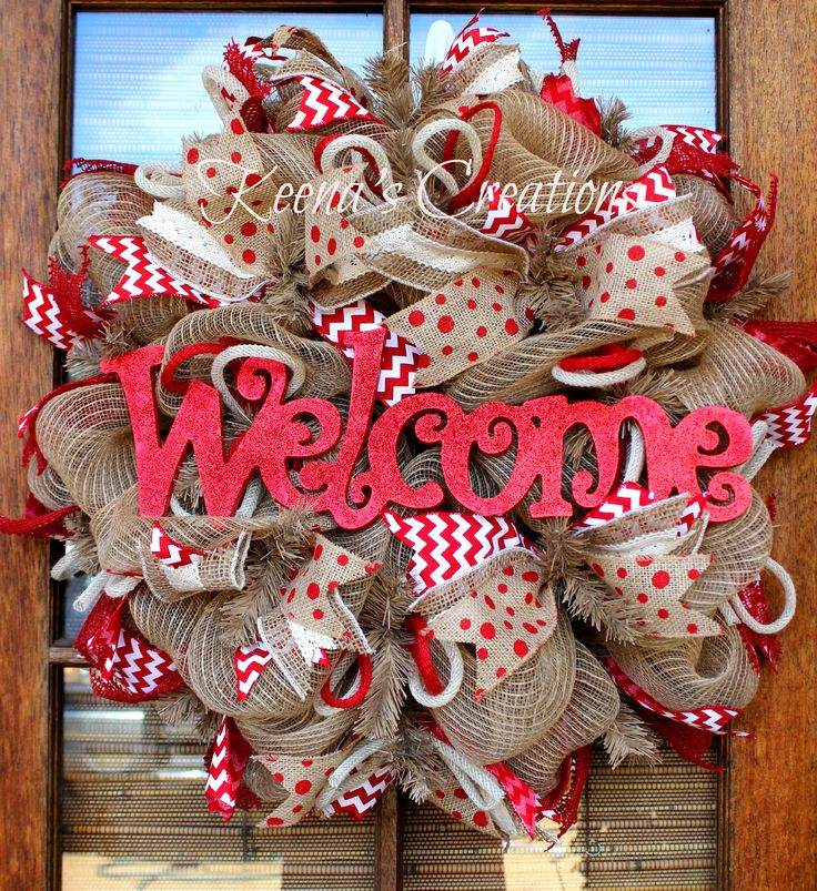 Burlap Welcome Wreath from Keena's Creations! #keenascreations