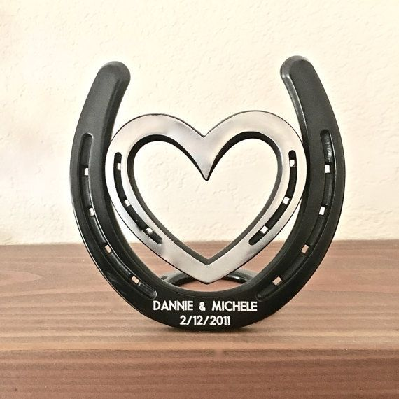 Engraved (included) 6th anniversary 2012, standing horseshoe & heart, IN STOCK 1 or 2 lines for engraved names & date. Made in America. Recent feedback: Its both rustic and clean at the same time....This will make an excellent iron anniversary gift. One more happy customer: Just #Horseshoearts&crafts