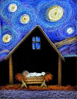 Oil pastel Starry Night/Manger Scene (did it--2014)