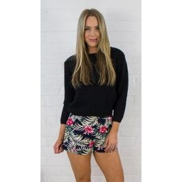 Printed Shorts with Contrast Waist