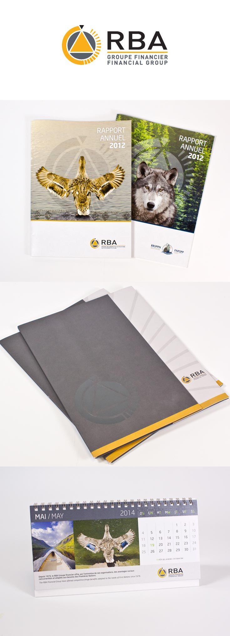 RBA Groupe financier  Création et développement de l'identité visuelle, design graphique, rapport annuel, pochette et calendrier