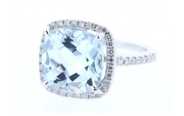 18ct White Gold Cushion Cut Aquamarine and Diamond Ring.