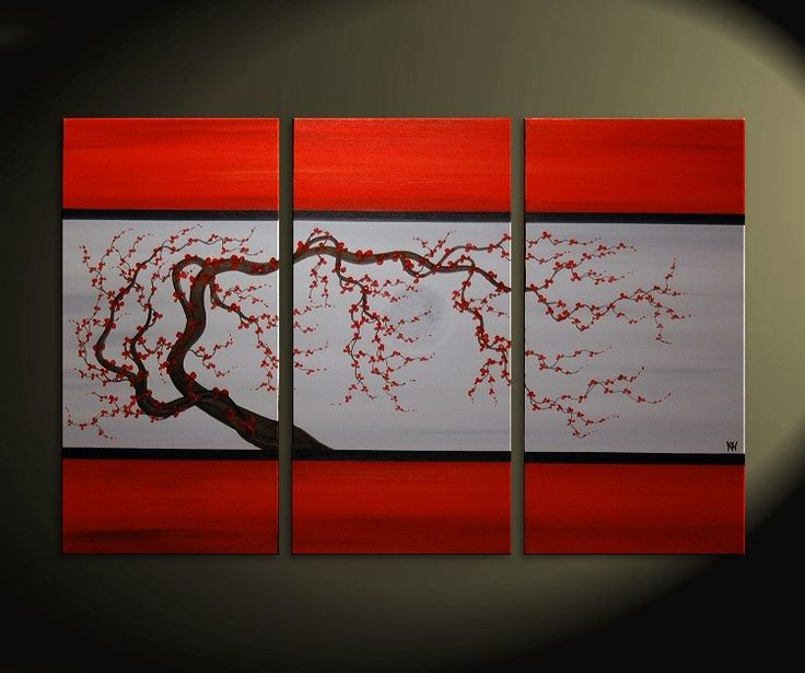 Red and Grey Original Tree Branch Art Plum Blossom by NathalieVan