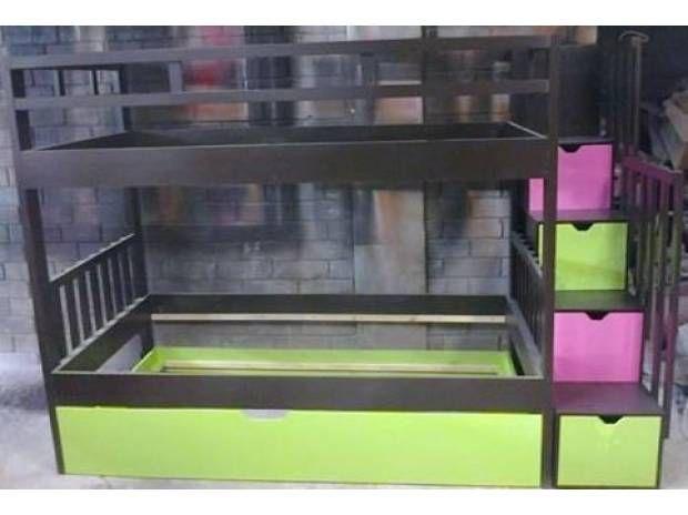 litera de tres camas escalera con cajones