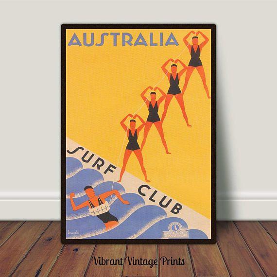 Australia Surf Club Beach  Vintage Travel Poster Printable
