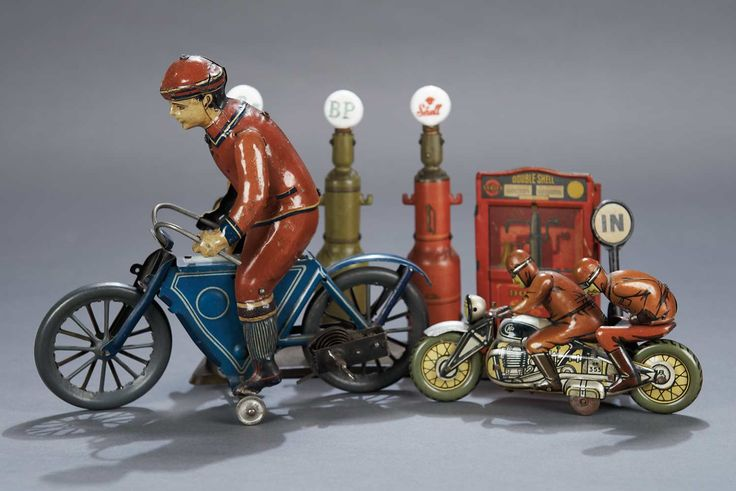 German Lithographed-Tin Mechanical Man Riding Motorcycle by Gunthermann
