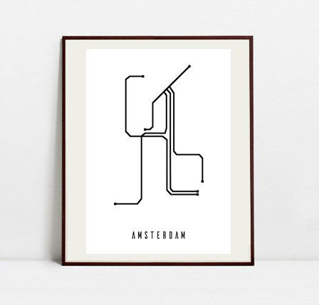 Amsterdam Metro Map - Black and White Art Print - Digital Download Art Print by Postery on Etsy