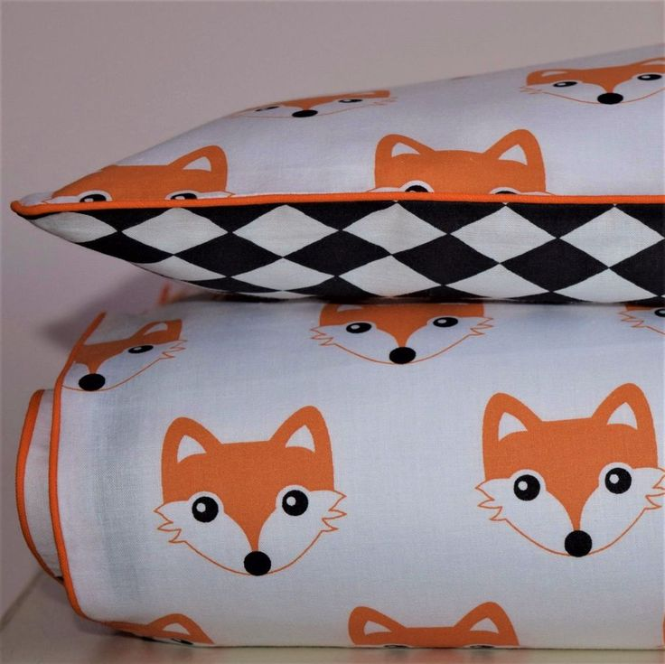 Cot Bed Duvet Covers Bedding set Woodland Fox Graphic Print , PURE COTTON