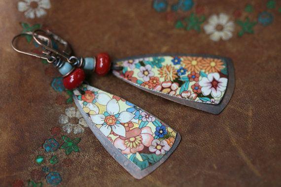 Boho Folk Rustic 'Earth Gardens' Series Floral Tin earrings n101- upcycled tin . artisan earrings . floral tin earrings . marquise shape