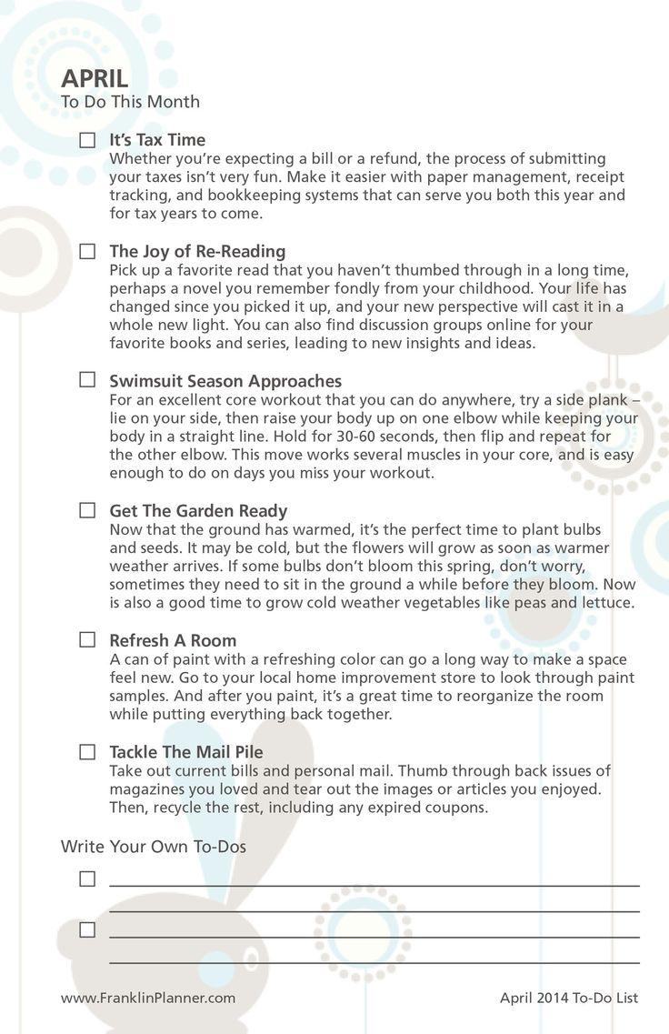 April Planner Checklist