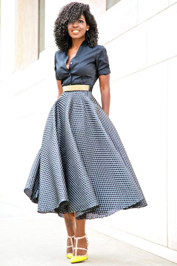 Style Pantry | Button Down Shirt + Textured Swing Skirt