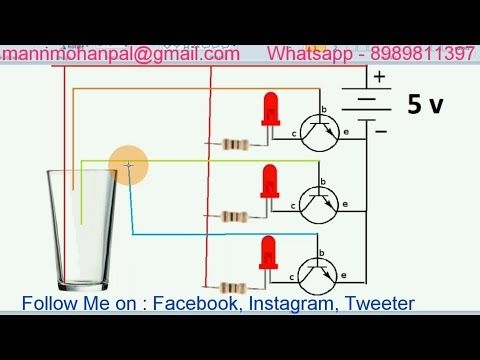 Easy Water Level Indicator using NPN Transistor BC547 by Manmohan
