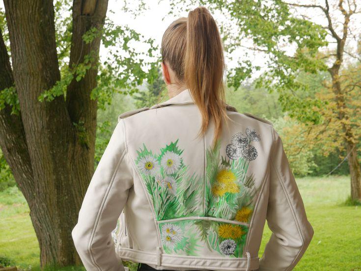 Hand-Painted Jacket , Hand-crafted, Custom Made Biker Jacket, Custom Leather Jacket, Me by Malwina Faba