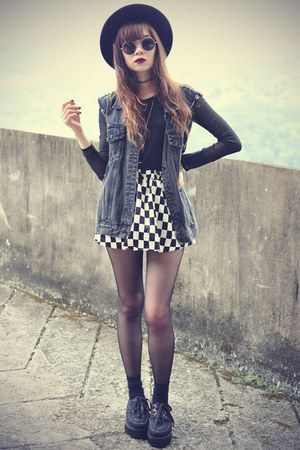 Creepers-shoes-oasap-hat-mesh-top-checked-skirt-choies-skirt-denim-vest