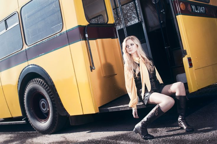 """This is a favorite photo from our 60's Inspired Vintage Bus Shoot photographed in early March 2014 by Alexandra Gunnoe at the West of England Transportation Collection in Winkleigh, Devon (UK). This was the first in a series of 11 Vintage Fashion shoots featuring these gorgeous old buses from the 40's, 50's and 60's. For more information on """"The Vintage Bus Project"""", please read my blog at   http://alexandragunnoe.blogspot.co.uk/  #fashion #vintage #photography #alexandragunnoe #60s #1960s"""