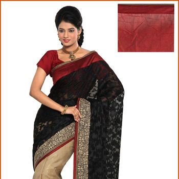 Black and Beige Net Brasso and Brocade Saree with Blouse