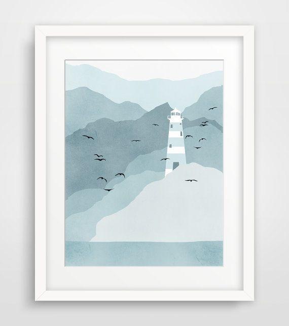 Kunstdruck/Poster Leuchtturm, nautische Dekoration, Strand Dekor, Küsten-Dekor - blaugrau