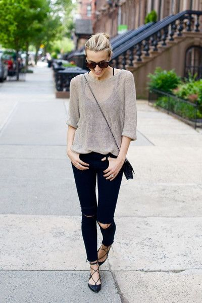 How to Style With Lace up Ballet Flats  see more: http://www.ferbena.com/how-to-style-with-lace-up-ballet-flats.html