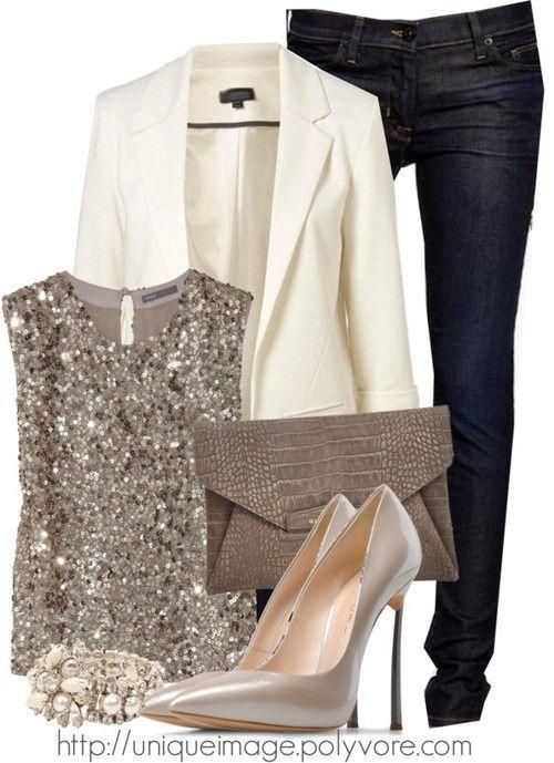 Sparkle blouse power. White blazer.