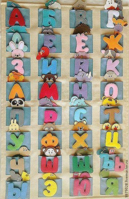 Алфавит из фетра с рамкой для игр - алфавит из фетра,алфавит,обучение чтению