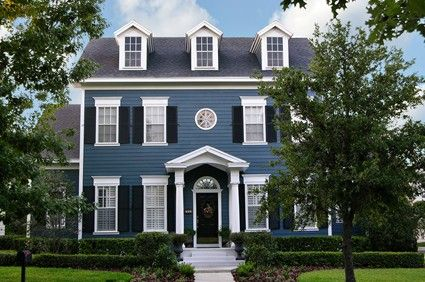 What color would you paint your house? | Colonial, Black shutters ...