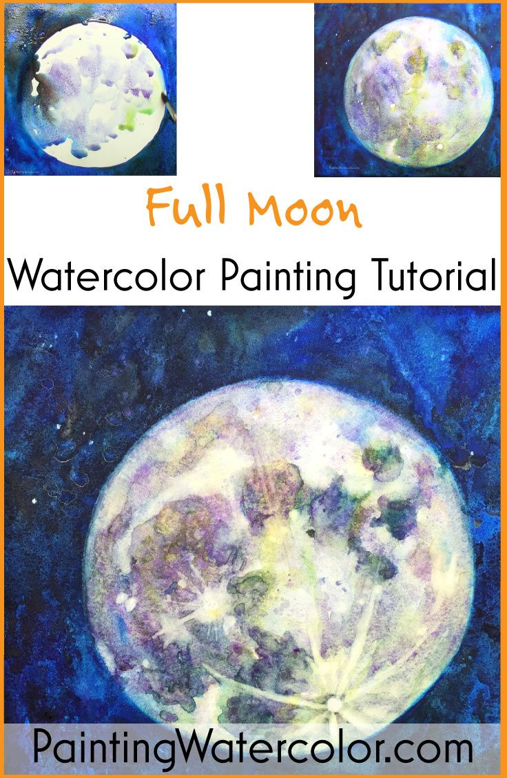 Full Moon Watercolor Painting Tutorial by Jennifer Branch.