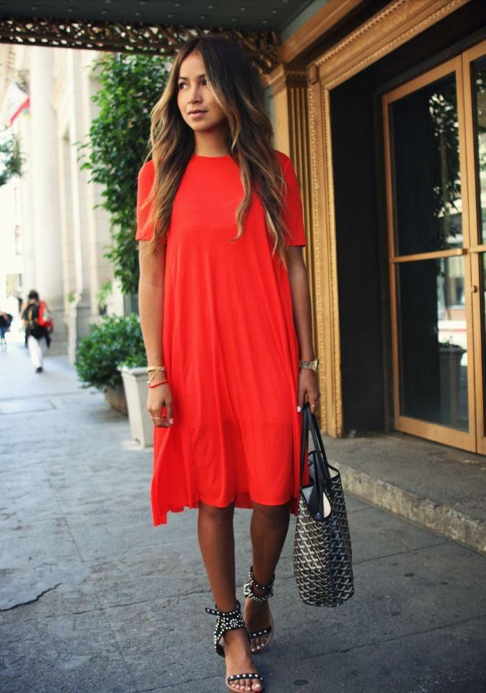 Scoop Loose Pure Color Knee-length Dress - Oh Yours Fashion - 4