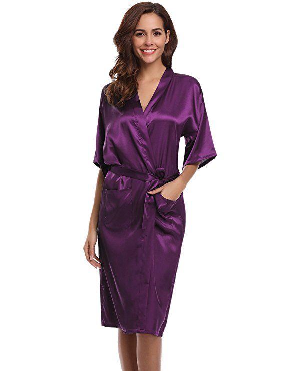 a9d2f09dea Aibrou Women's Kimono Robe Dressing Gown Long Classic Satin Wedding  Nightwear at Amazon Women's Clothing store