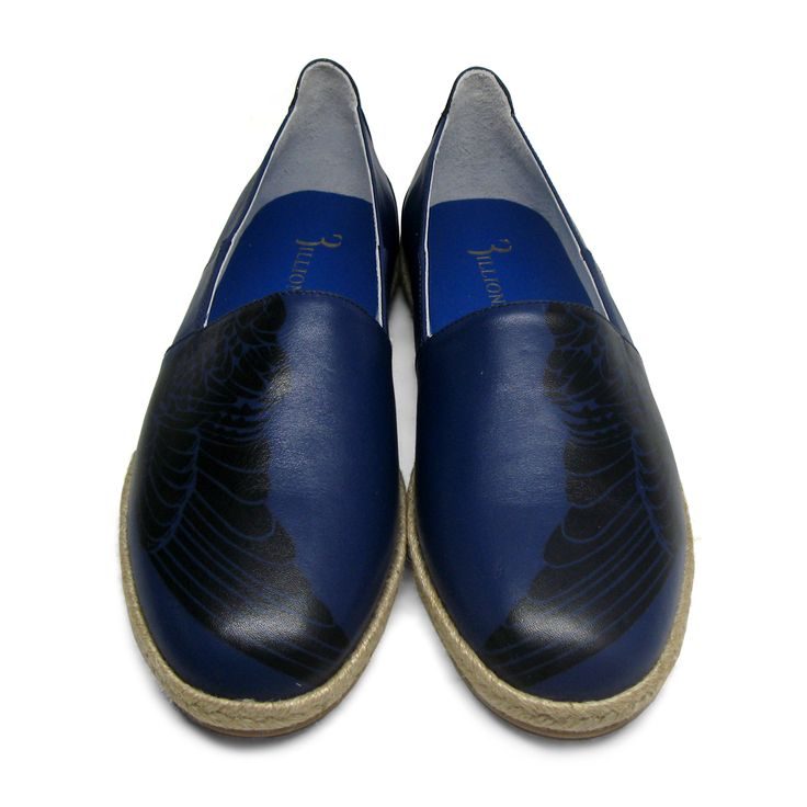 Billionaire blue espadrilles featuring falcon print in black color. Round toe. Braided jute at midsole. Rubber outsole. Tonal stitching.Size: 42.Made in Italy.