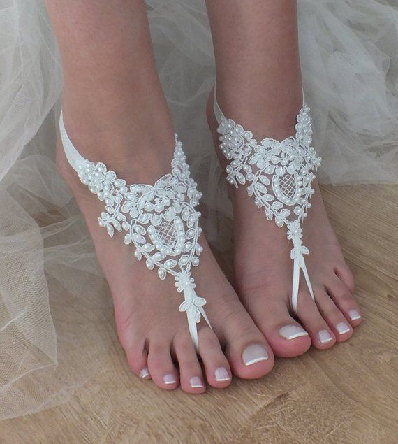 EXPRESS SHIPPING White Beach wedding barefoot sandals Pearl wedding shoes beach shoes bridal accessories beach anklets Bridesmaid gift