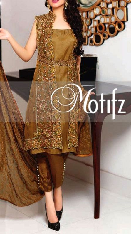 Buy Brown Embroidered Crinkle Chiffon Dress by Motifz 2016