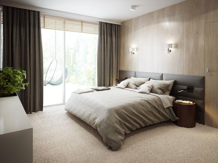 Ciepła i przytulna sypialnia z tapicerowanym zagłówkiem