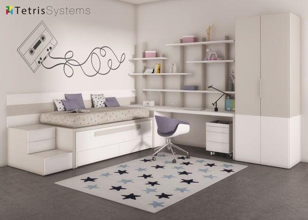 Mejores 168 im genes de dormitorios con zona de estudio en for Habitaciones juveniles con cama grande