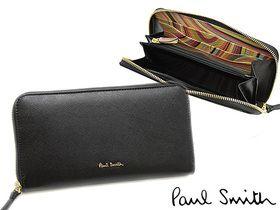 ポールスミス財布PaulSmith2463-W308Bラウンドファスナー長財布ブラック/マルチカラーストライプ