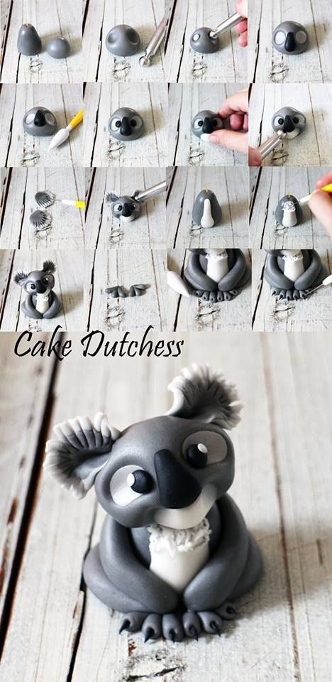 Koala tutorial by Cake Dutchess. I know it's not Fimo but the ideas should work