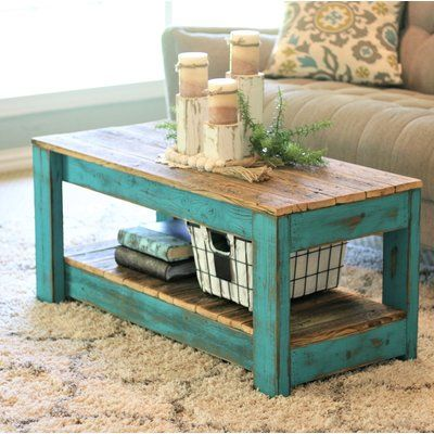 Rosecliff Heights Elihu Coffee Table Base Color: Turquoise