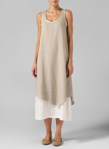 PLUS Clothing - Linen Double Layered Long Dress