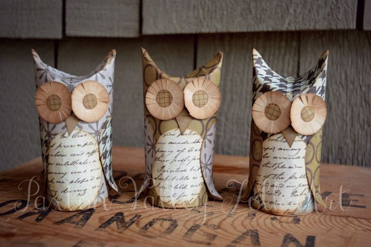 Recycled toilet paper roll owls on Paxton Valley Folk Art's blog: Whoos And Boos!