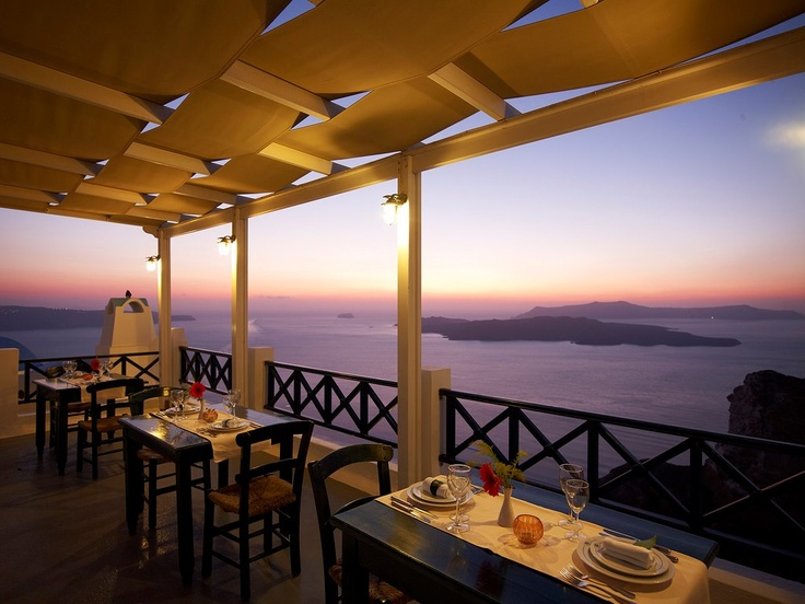 Enjoy the stunning view of the Caldera during your dinner!! Amazing experience...    http://www.volcano-view.com/santorini-caldera-restaurant.php