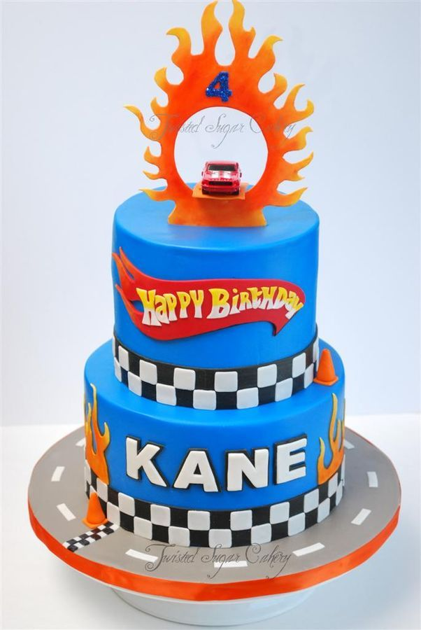 Hot Wheels theme birthday cake  -  LIKE THE KANE COLOR AND CHECKERBOARD.. DON'T WANT FONDANT.